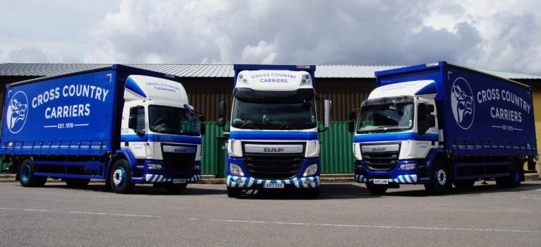 3 rigid trucks in triangle formation